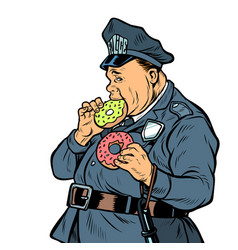 cop eats donut isolate on white background vector image