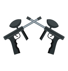 Crossed paintball guns icon flat style vector image