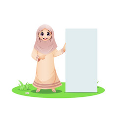 Cute muslim girl standing with blank sign vector