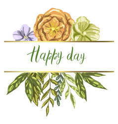 Decorative card with leaves plants and flowers vector