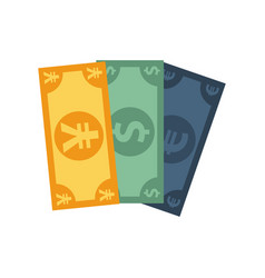 Dollar with euro and yen bills vector