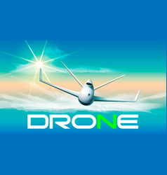 drone flying in sunlight of vector image