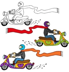Dude on Motorcycle vector