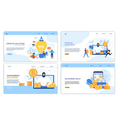 Earning money increase profit landing page set vector