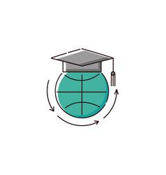 education around world - flat icon globe vector image