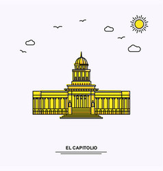 El capitolio monument poster template world vector