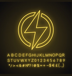Electric power sign neon light icon vector