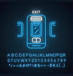 Emergency exit neon light icon vector