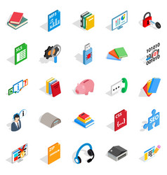Exam icons set isometric style vector