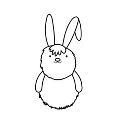 fluffy rabbit adorable toy icon thick line vector image