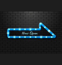 frame light sign arrow blue retro on background vector image