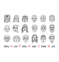 Funny people avatars faces of men and women vector