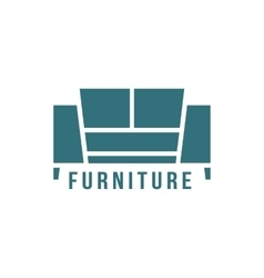 furniture logotype with green sofa icon vector image