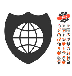 Global shield icon with love bonus vector