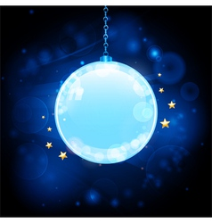 Glow blue Christmas bauble background vector image