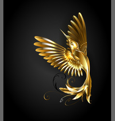 Golden hummingbird vector