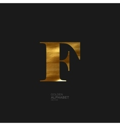 Golden letter F vector image