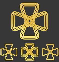 Golden line engineering logo design set vector