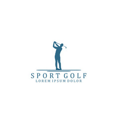 Golfer with stick logo silhouette minimalist vector