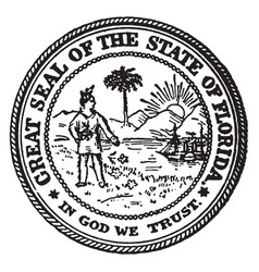 great seal state florida vintage vector image