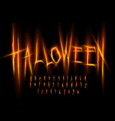 halloween font letters and numbers vector image