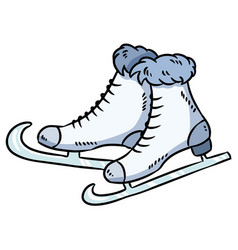 hand drawn ice skates doodle element vector image