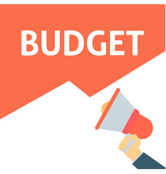 Hand holding megaphone with budget announcement vector