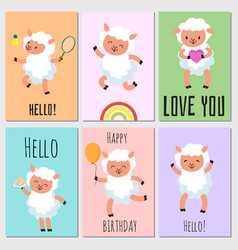 happy birthday hello cards with cute sheep vector image
