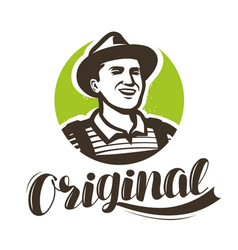 happy farmer with hat logo agriculture farming vector image