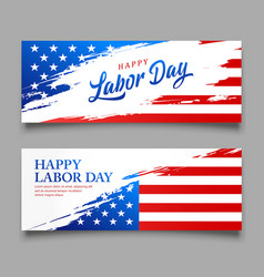 happy labor day flag usa brush style vector image