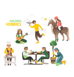 hobbies children and teenagers happy childhood vector image