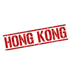 Hong Kong red square stamp vector