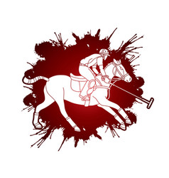 horses polo player sport cartoon graphic vector image
