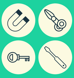Instrument icons set collection turn screw vector