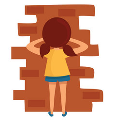 Kid playing hide and seek on white background vector