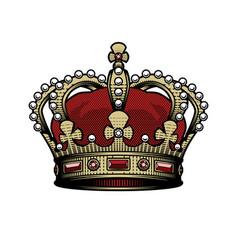 king crown vintage heraldic imperial sign color vector image
