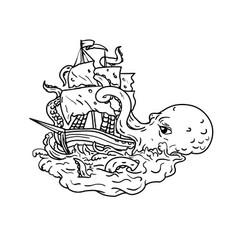 Kraken attacking sailing ship doodle art vector