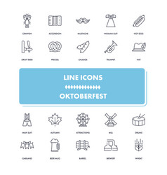 line icons set octoberfest vector image