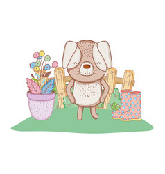 little dog in the garden vector image