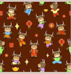 Little smiling bulls dancing and having fun vector