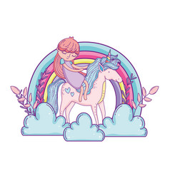 little unicorn and princess in the clouds with vector image