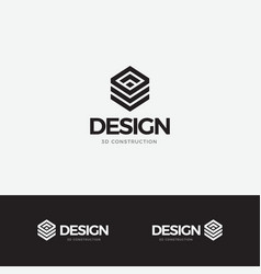 logo design concept icon hexagon 3d vector image