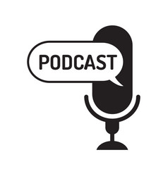 logo or icon podcast with text in text balloon on vector image