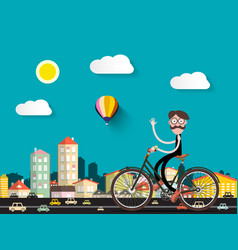 man on bicycle in the city with small cars flat vector image