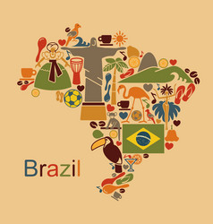 map from traditional symbols brazil vector image