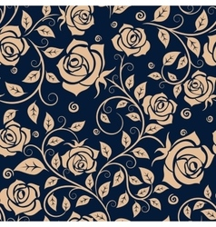 Medieval seamless pattern with roses vector