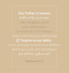 our father in heaven prayer which jesus teaching vector image