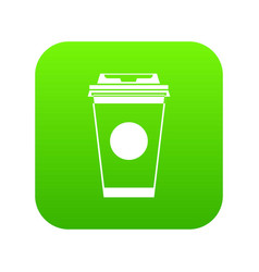 paper coffee cup icon digital green vector image