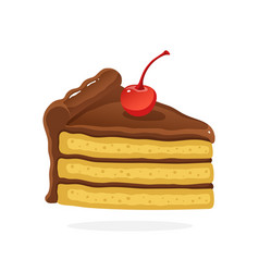 Piece cake with chocolate cream and cherry vector