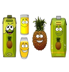 Pineapple fruit and juices with happy face vector image
